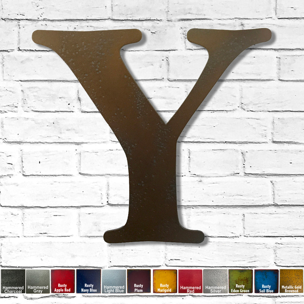 "Letter Y - Metal Wall Art Home Decor - Made in the USA - Choose 10"", 12"" or 16"" Tall - Choose your Patina Color! Choose any letter FREE SHIPPING"