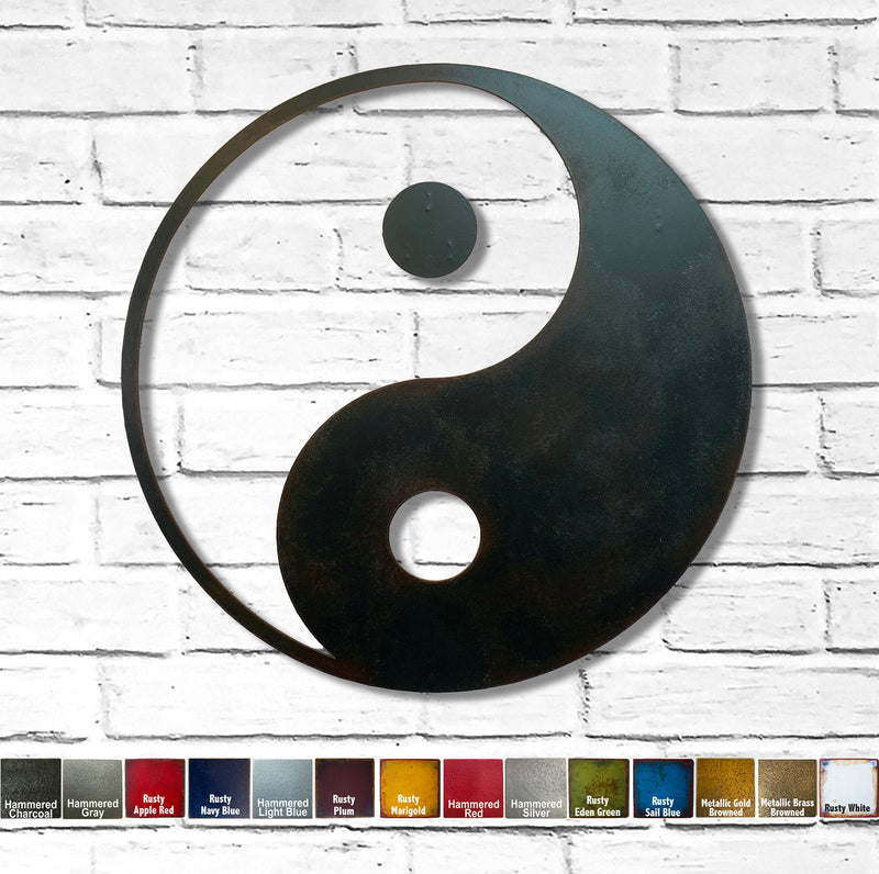 "Yin Yang Symbol - Metal Wall Art Home Decor - Handmade in the USA - Choose 12"", 17"" or 24"", Choose your Patina Color! FREE SHIPPING"