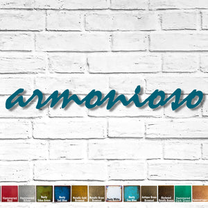 "Custom Order - armonioso - Mistral Font - Finished in Rusty Turquoise - Measures 34.5"" wide x 4.5"" tall - Metal Wall Art"