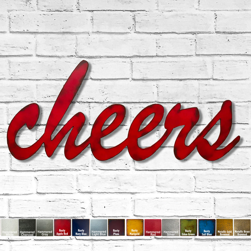 cheers word metal wall art home decor cutout handmade by Functional Sculpture llc