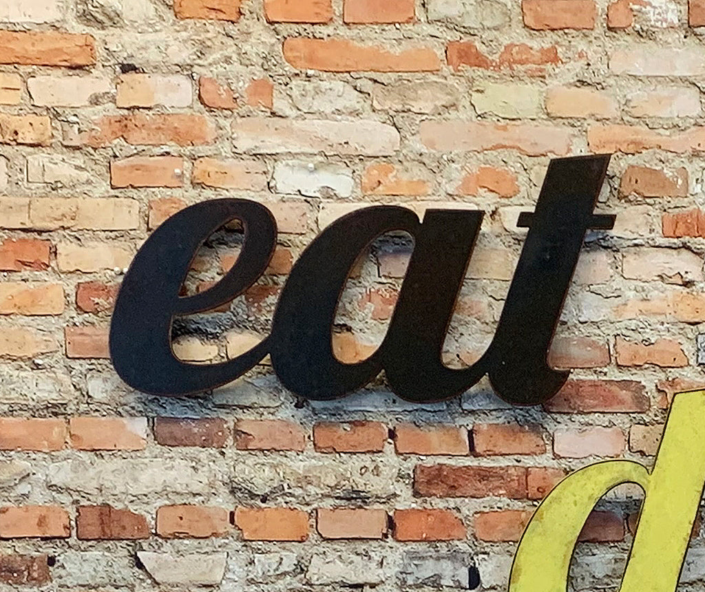 eat word metal wall art cutout home decor handmade by Functional Sculpture llc