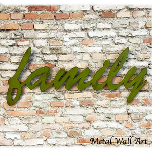 family word metal wall art cutout home decor handmade by Functional Sculpture llc