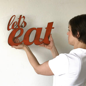 "let's eat sign - Metal Wall Art Home Decor - Handmade in the USA - Choose 11"", 17"" or 23"" Wide - Choose your Patina Color - Free Ship"