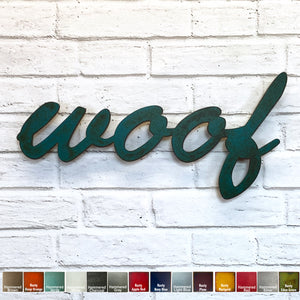 "woof sign - Metal Wall Art Home Decor - Handmade in the USA - Choose 17"", 24"" or 36"" Wide - Choose your Patina Color! FREE SHIPPING"