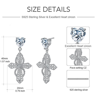 Heart Cross Earrings