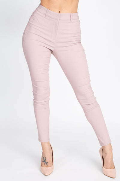 High Rise Solid Skinny Pants
