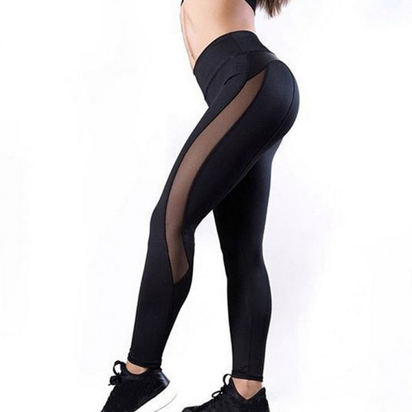Fashion Mesh Leather Leggings