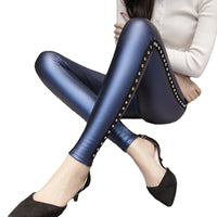 Leather Rivets  leggings Fleece Matte Thick Women