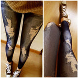 Retro Women Skinny Slim Distressed Stretchy Jeans Leggings