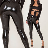 Women Shiny PU Leather Leggings Black Slim Push Up