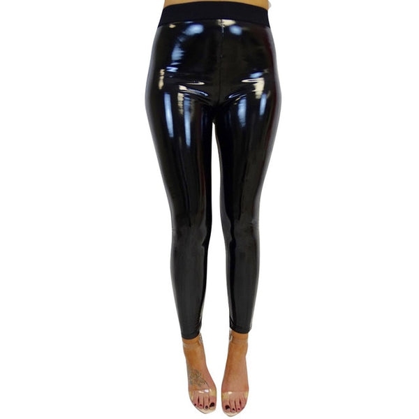 Womens Strethcy Shiny Pu Leather Pants Fitness Leggings