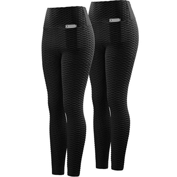 New Solid High Waist Fitness Anti Cellulite Texture Leggings