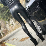 Black Summer PU Leather Pants Women High Waist Skinny Push Up Legging