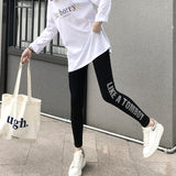 Casual Style Letter Print Plus Size Skinny High Waist Women's Leggings