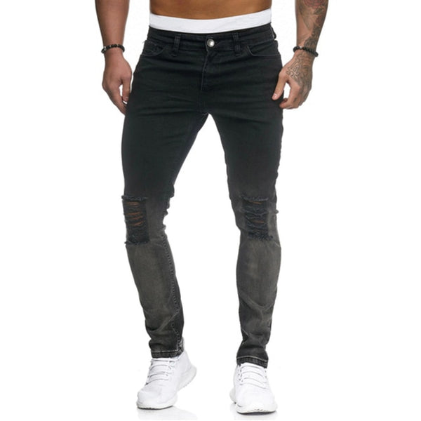 High Quality Men's Gradient Hole Denim Pencil Pants Skinny