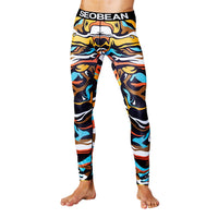 Men's Print Cotton Breathable Sports Leggings Thermal Long Johns
