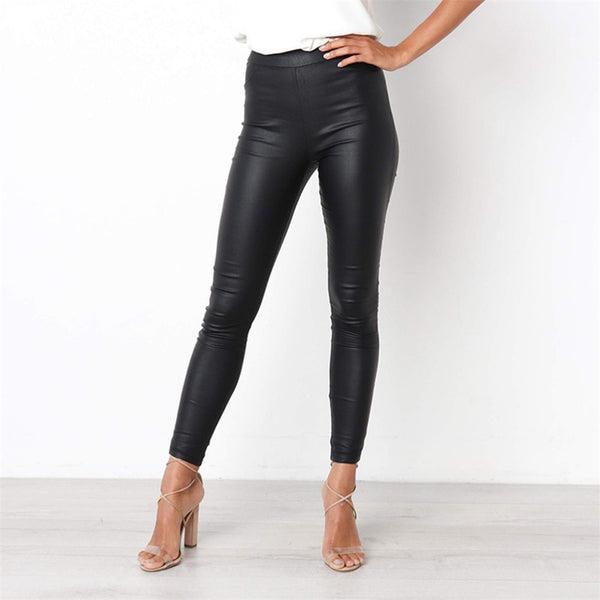 Trendy Women's Leggings Lady's Faux Leather High Wrist Solid Black