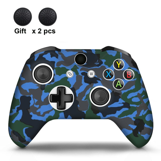 Camo Blue  Xbox One S Silicone Cover Skin With Grips