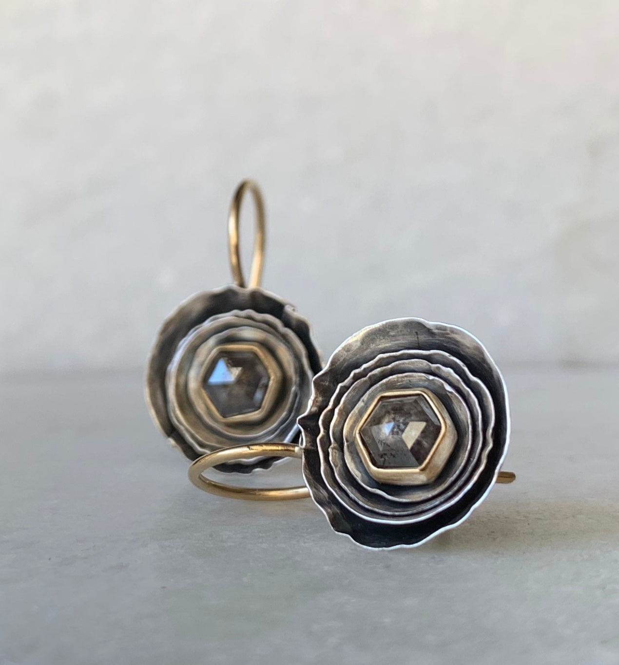 Round Cusp Earring with Smokey Grey Diamonds