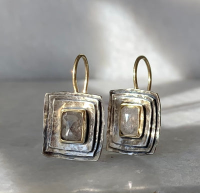 Cusp Earrings with Grey Diamonds
