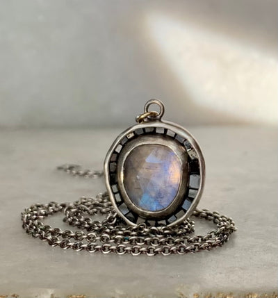 Diamond Frame Necklace with Moonstones