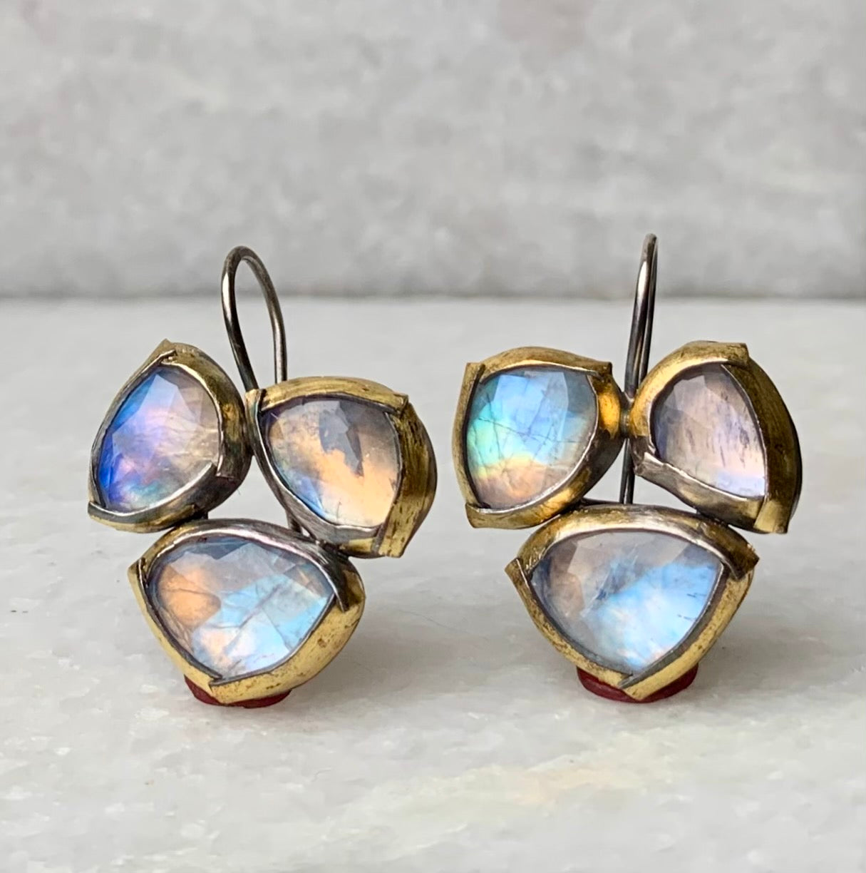 Fold Trio Earrings with Moonstones