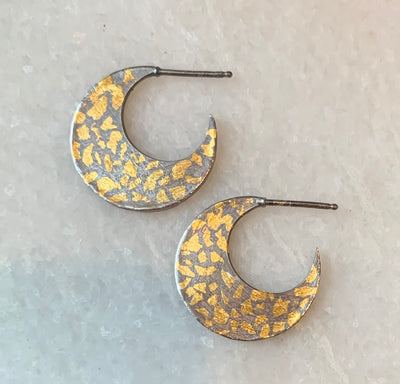 Speckled Crescent Hoops - medium