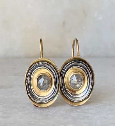 Oval Cusp Earrings with Grey Diamonds
