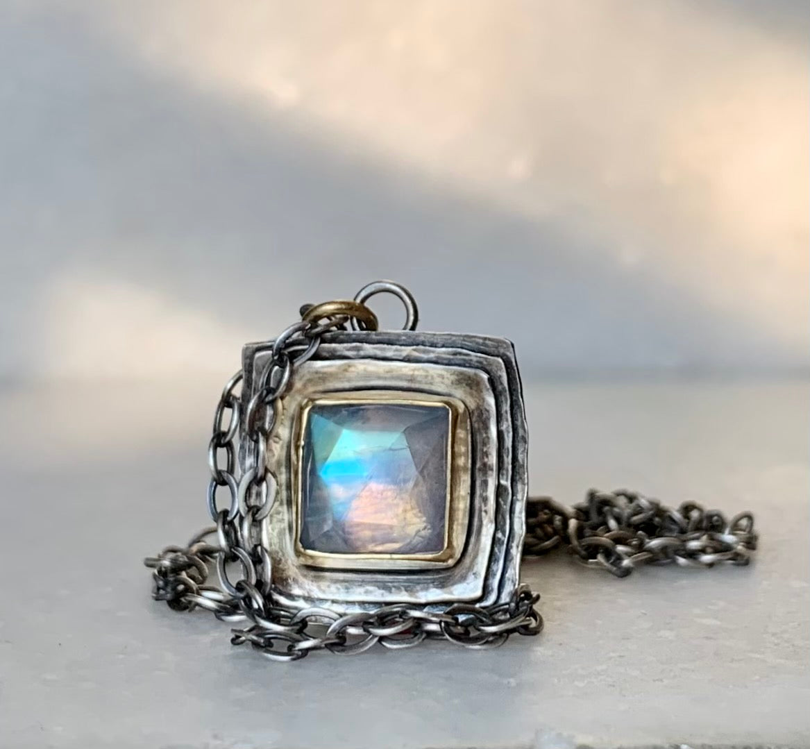 Square Cusp Necklace with moonstone
