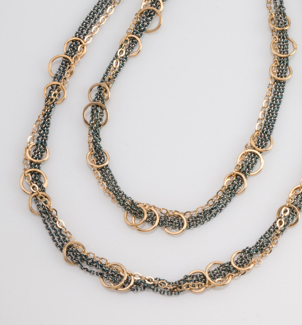 Hitch Necklace with 14k Vermeil and Oxidized Sterling