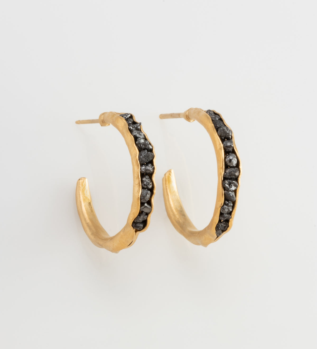 Groove Hoops with Raw Black Diamonds