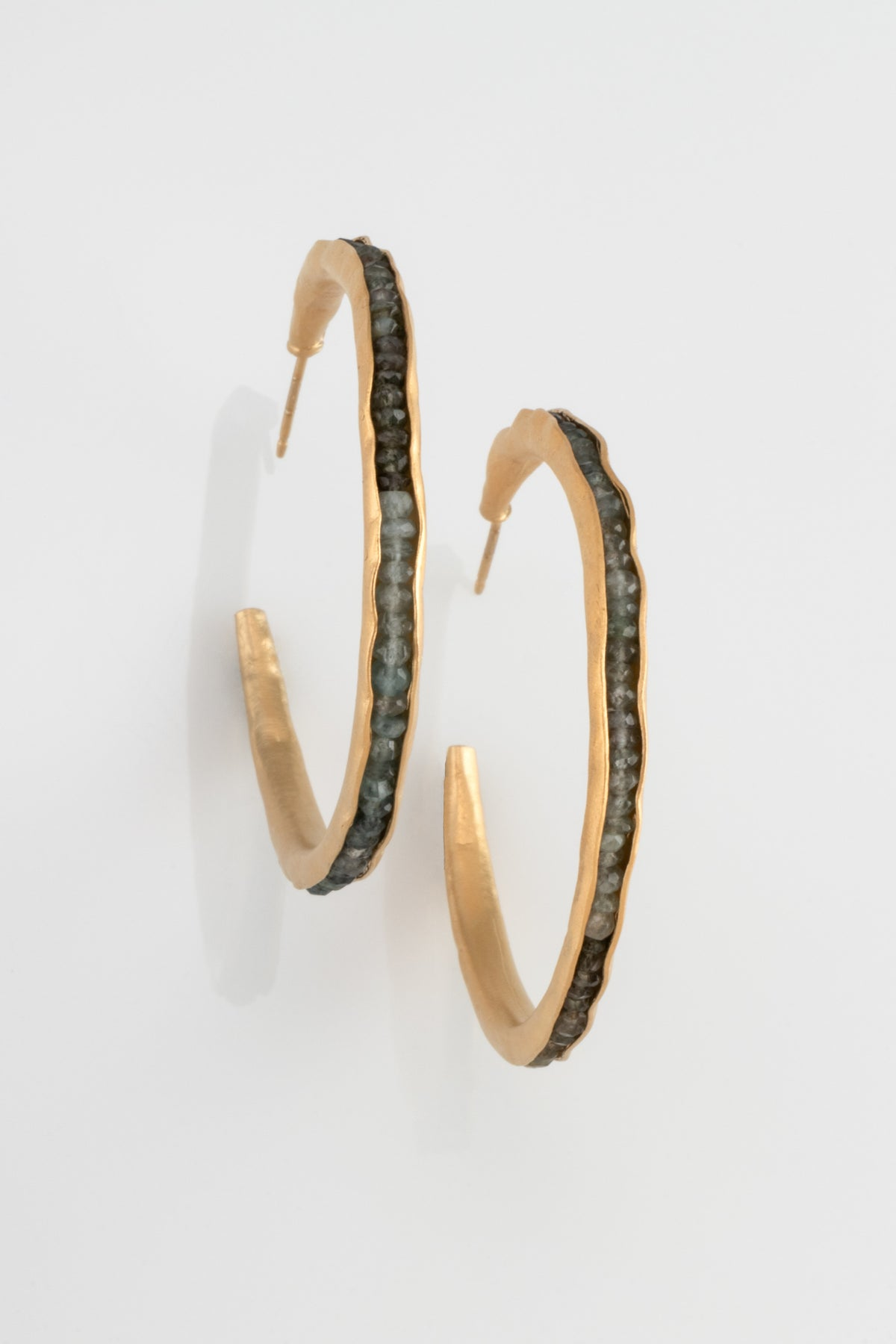 Large Hoop Groove Earrings in Vermeil