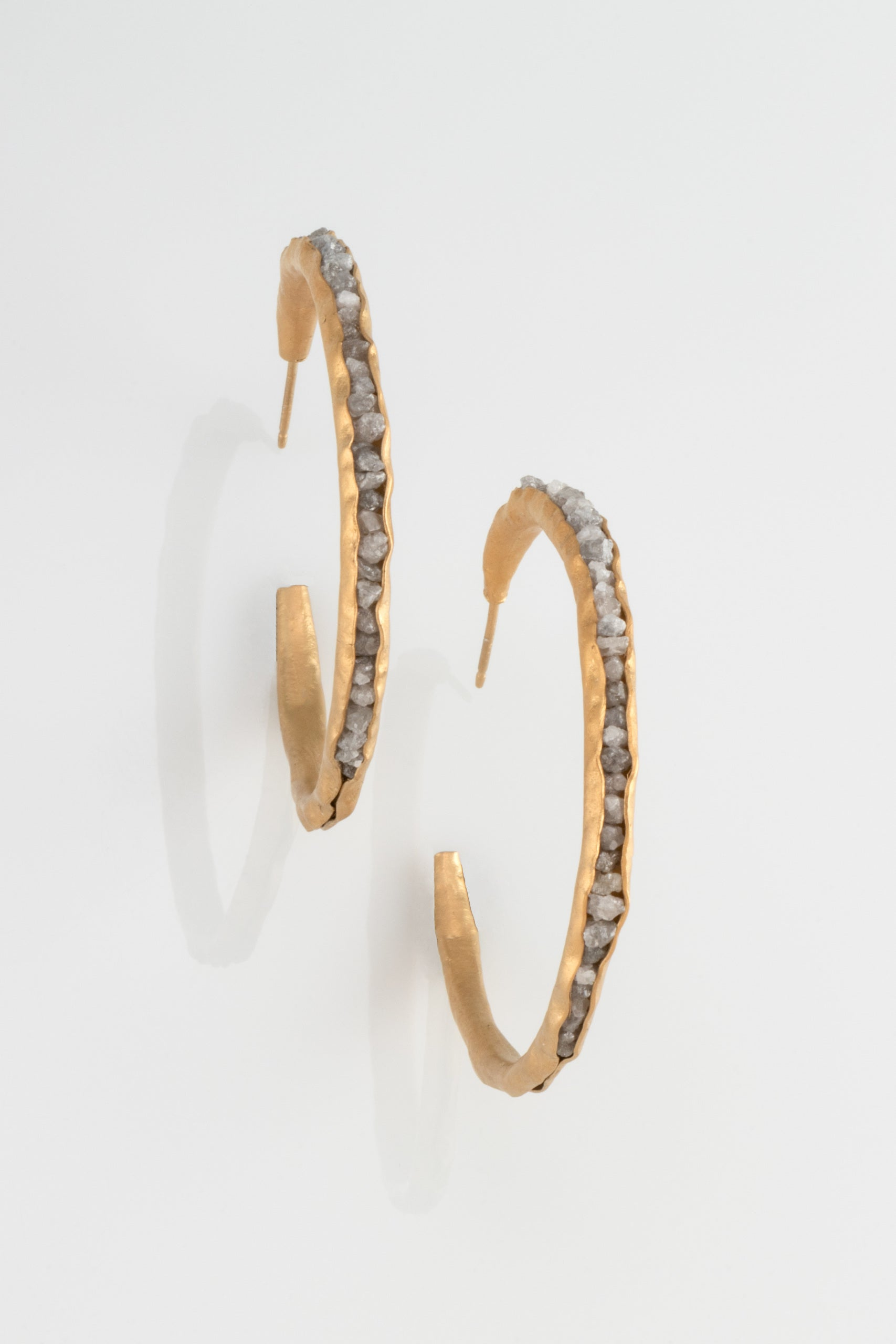 Large Hoop Groove Earrings with Raw Diamonds