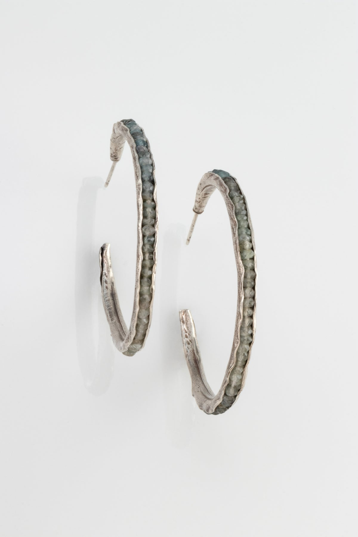 Large Hoop Groove Earrings in Sterling