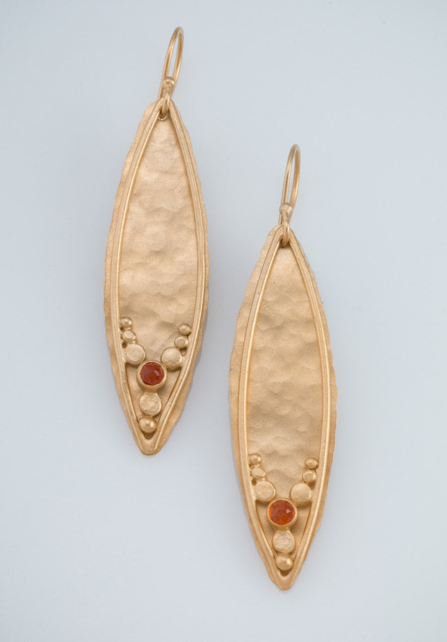 Leaves Earrings with Carnelian