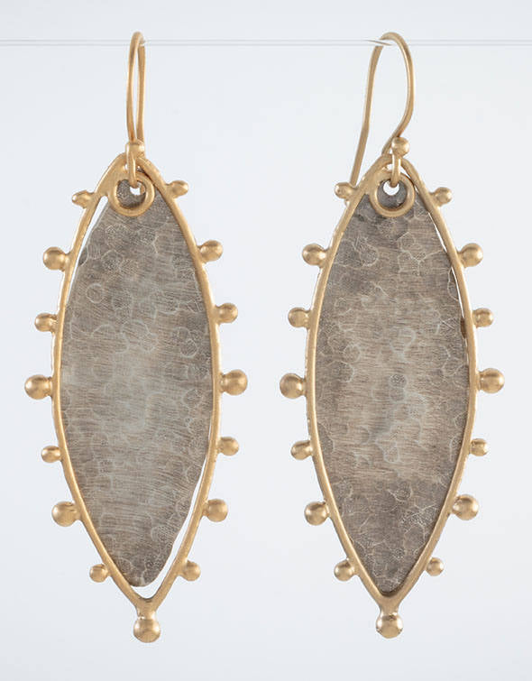 Spur Marquise Earrings in Two Tone