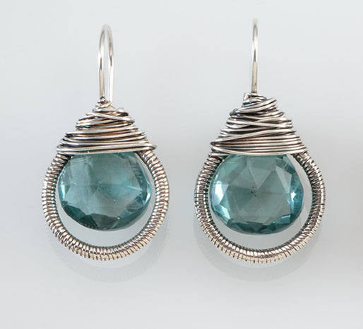 Teardrop Wrapped Earring in Blue Quartz