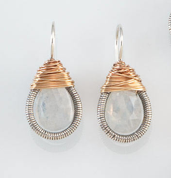 Two Toned Teardrop Wrapped Earrings - medium