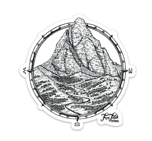 Mountain Compass Sticker