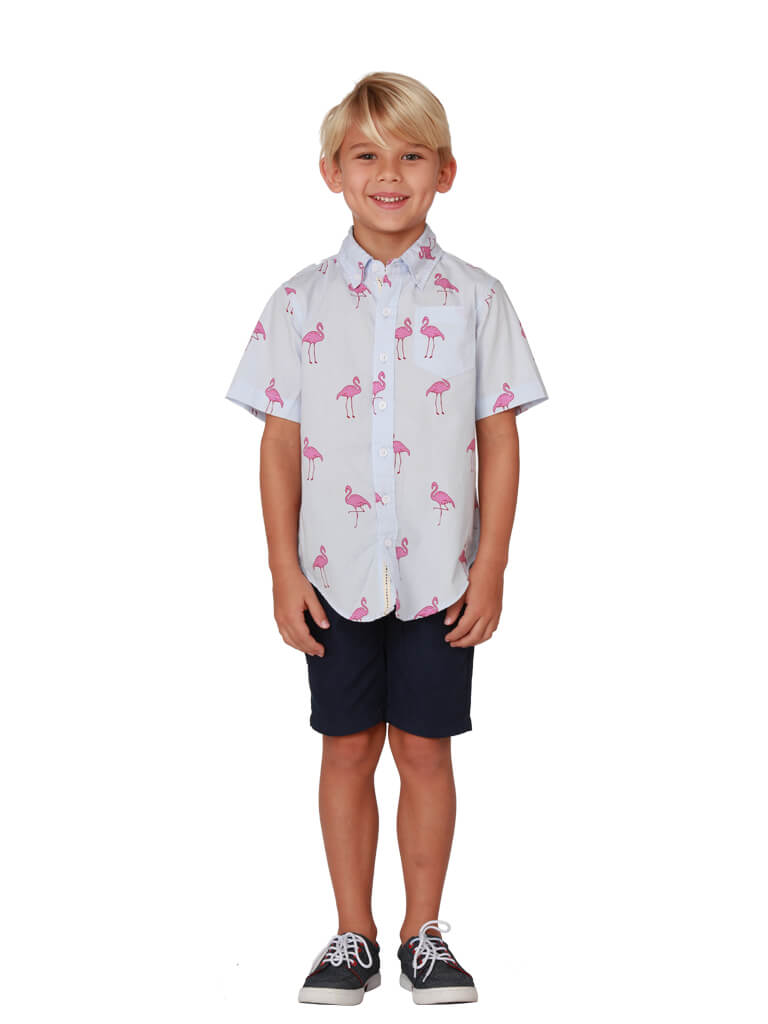 A smart flamingo print all cotton Hawaiian shirt for boys, front view