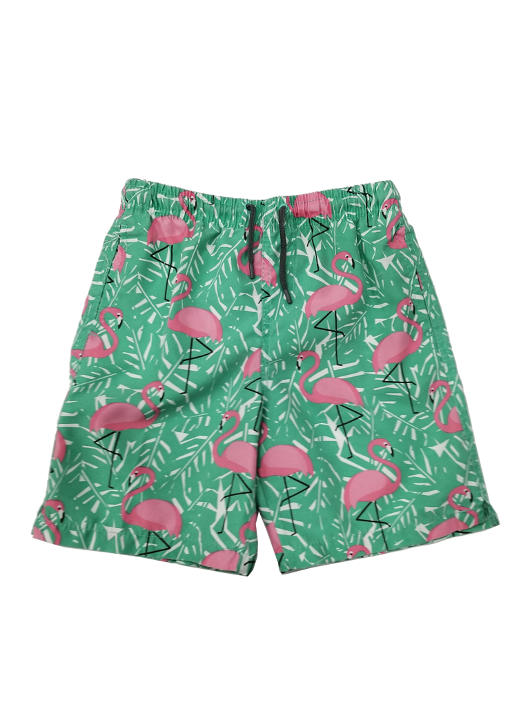 Boy's Swim Trunks in a flamingo and fern print