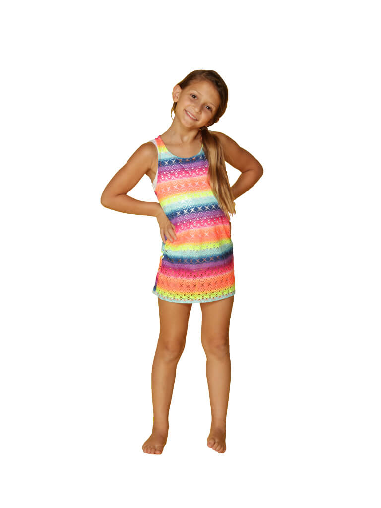 Girl's rainbow racerback dress mesh cover up