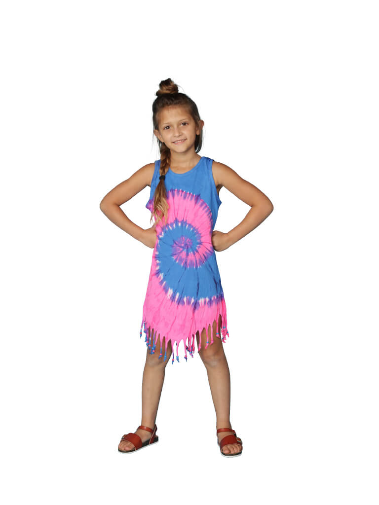 Fringe tie dye dress cover up in blue and pink