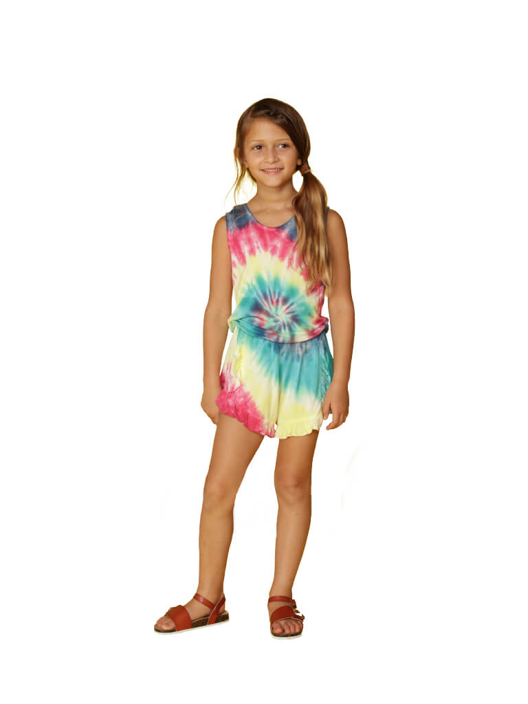 Swirl tie dye rainbow romper cover up