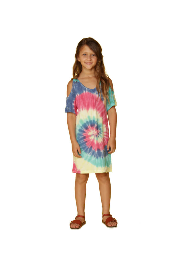 Rainbow tie-dyed cover up in a swirl pattern