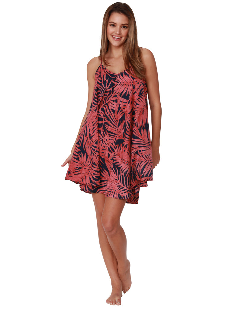 Burgundy and navy fern print umbrella dress, front view