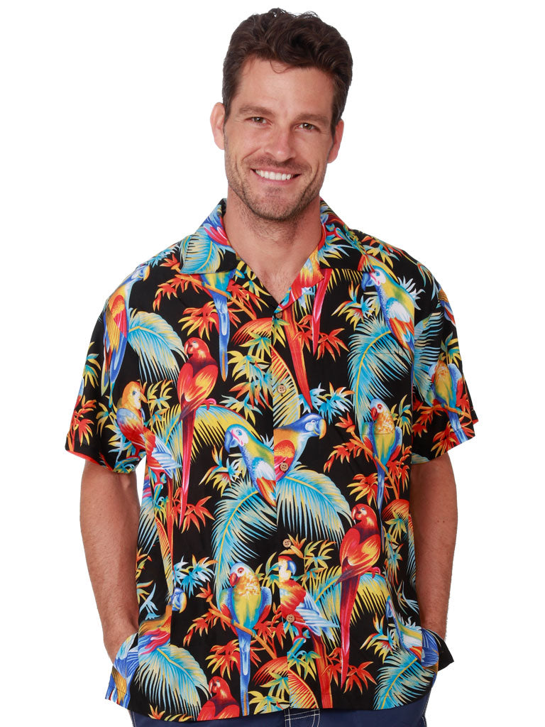 Palm Fronds and Parrot print Hawaiian Rayon Shirt front view