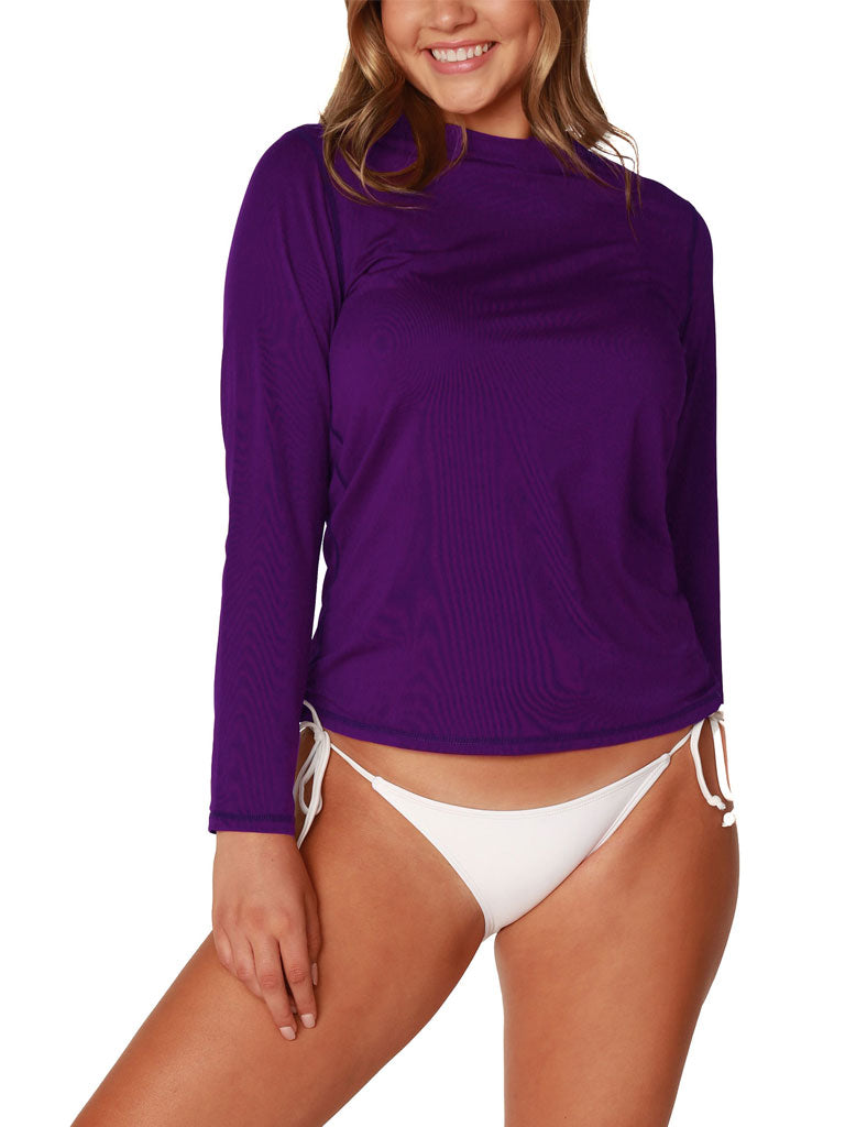 Women's Long Sleeve Ultra Light Weight Sun Shirts in solid colors