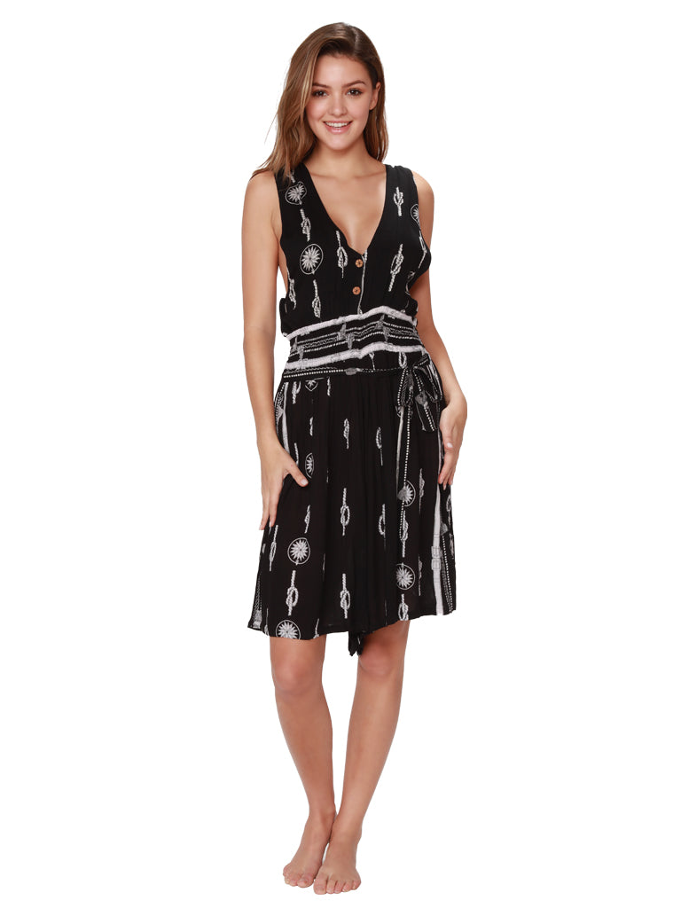 Knot and tassel pattern black sleeveless romper, front view