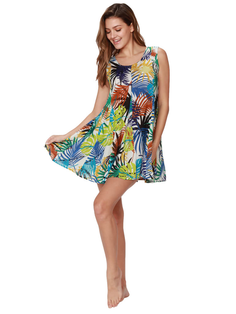 Sexy short flare dress in a tropical fern print, front view